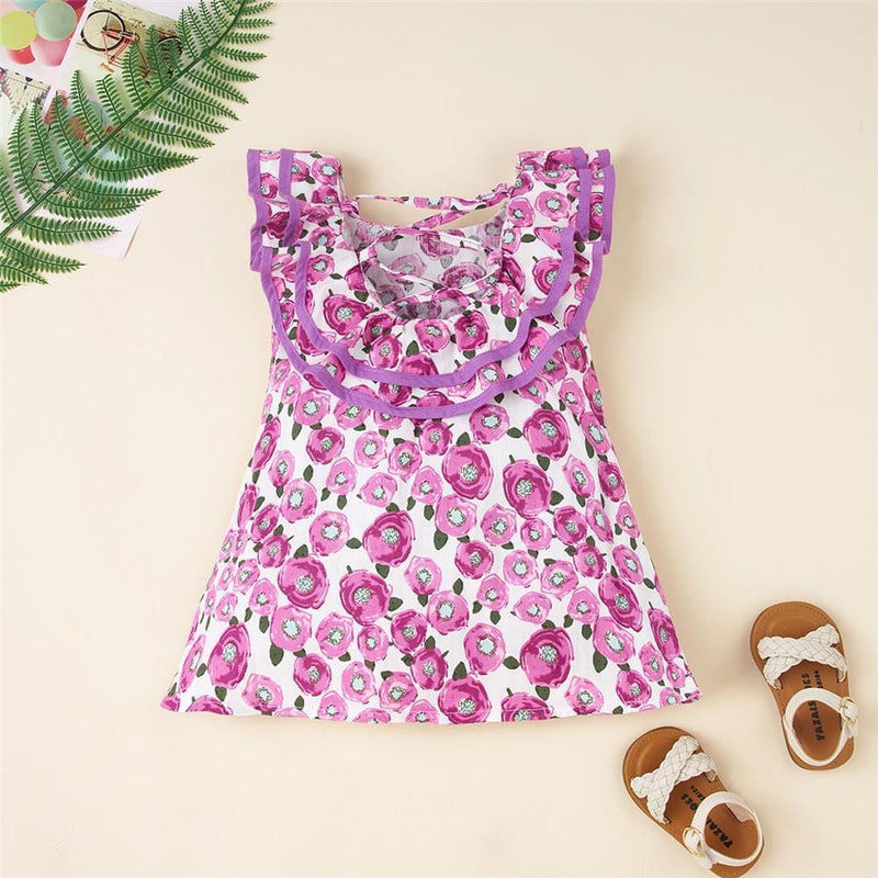 Girls Lotus Leaf Collar Floral Printed Sleeveless Summer Dress Wholesale Girl clothes