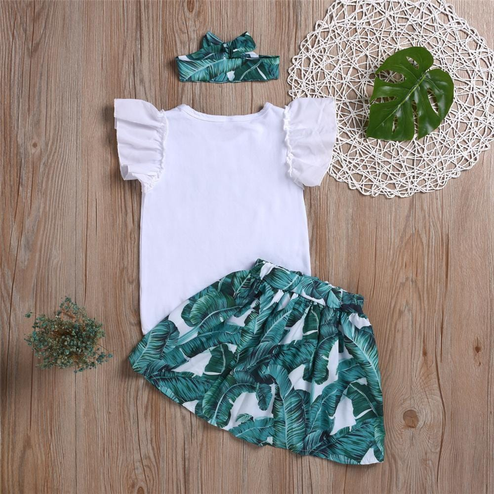 Girls Love Green Leaves Printed Short Sleeve Top & Skirt & Headband Urban Kids Clothes Wholesale