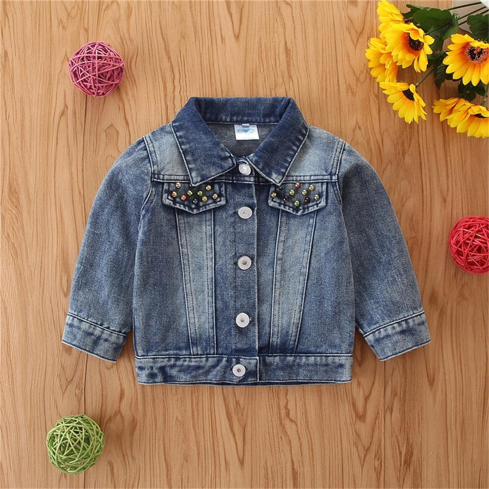 Girls Love Sequins Solid Lapel Denim Jackets Wholesale Baby Girl Clothes - PrettyKid