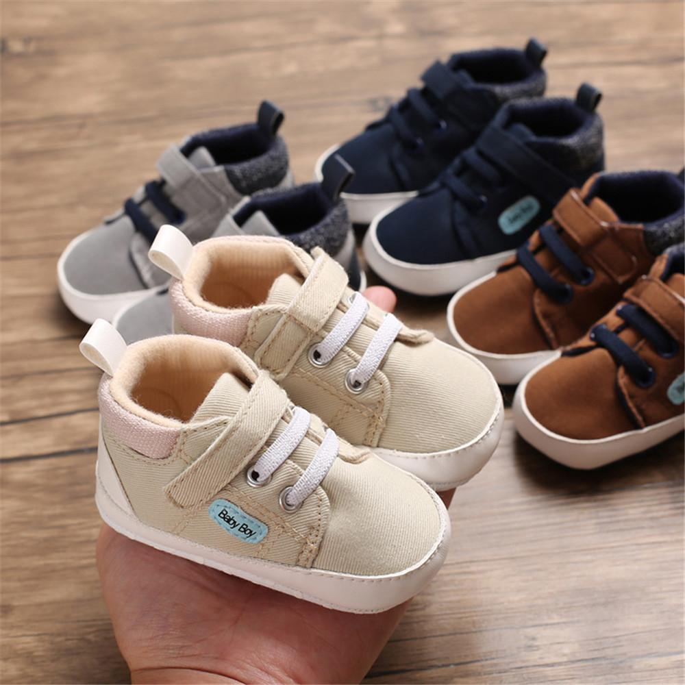 Baby Boys Magic Tape Solid Soft Sneakers - PrettyKid