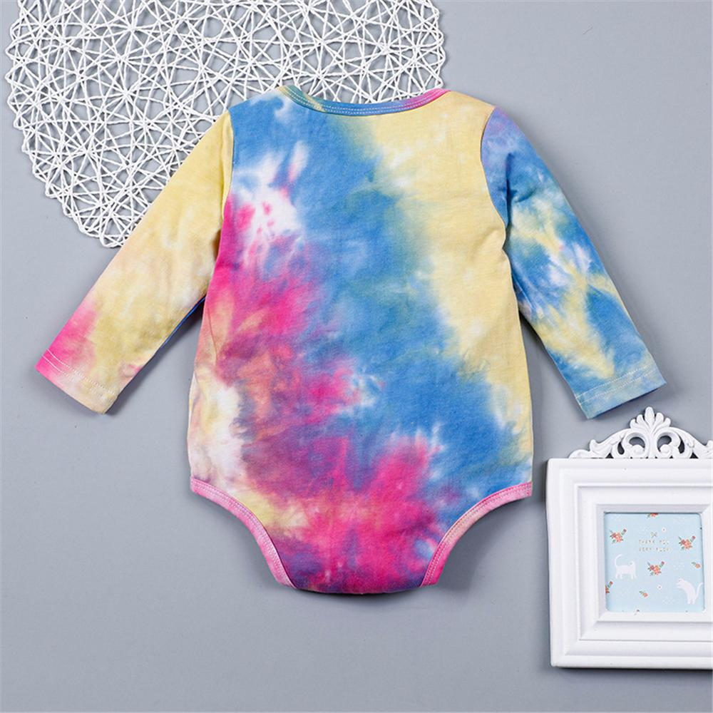 Baby Mama's Girl Tie Dye Long Sleeve Romper Wholesale Baby Outfits - PrettyKid