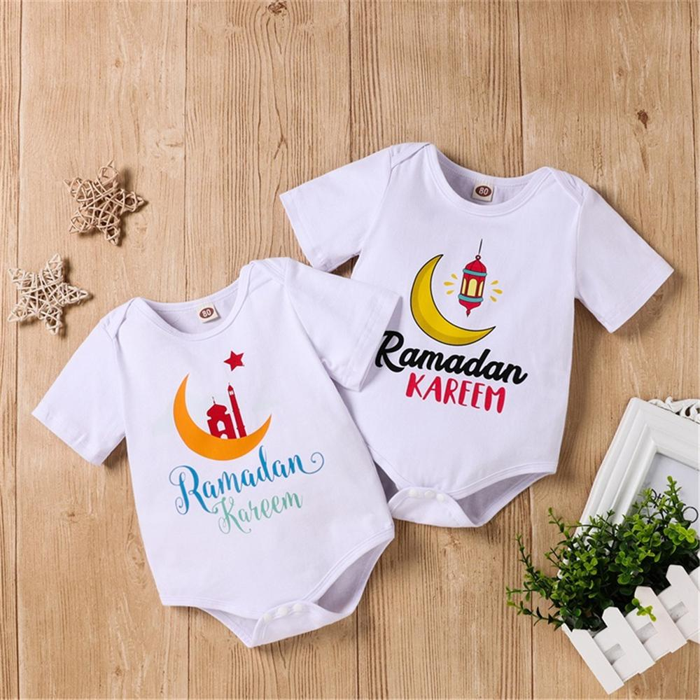 Baby Moon Letter Printed Short Sleeve Romper wholesale smocked children's clothing - PrettyKid