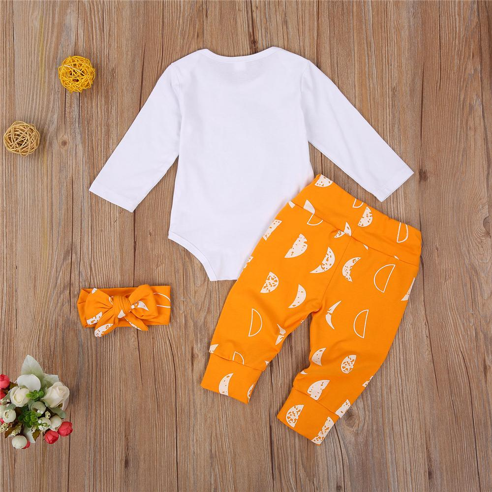 Baby Girls Moon Printed Long Sleeve Romper & Pants & Headband Baby Clothes Vendors - PrettyKid