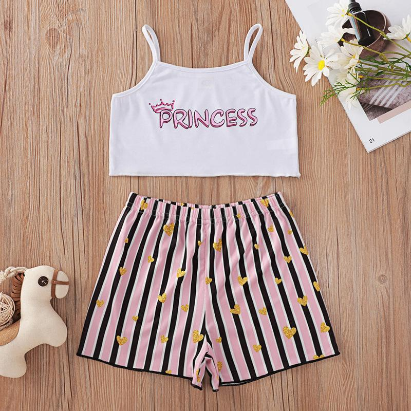 Wholesale Children'S Boutique Clothing Suppliers Usa White Suspender Striped Printing Suit