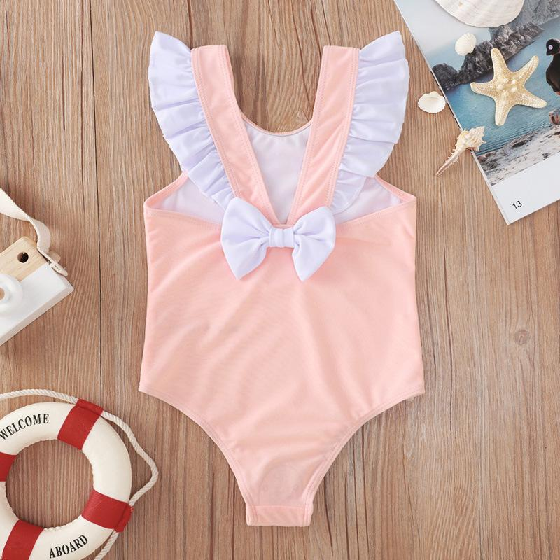 Pink Flounced Sleeve Bow Swimsuit