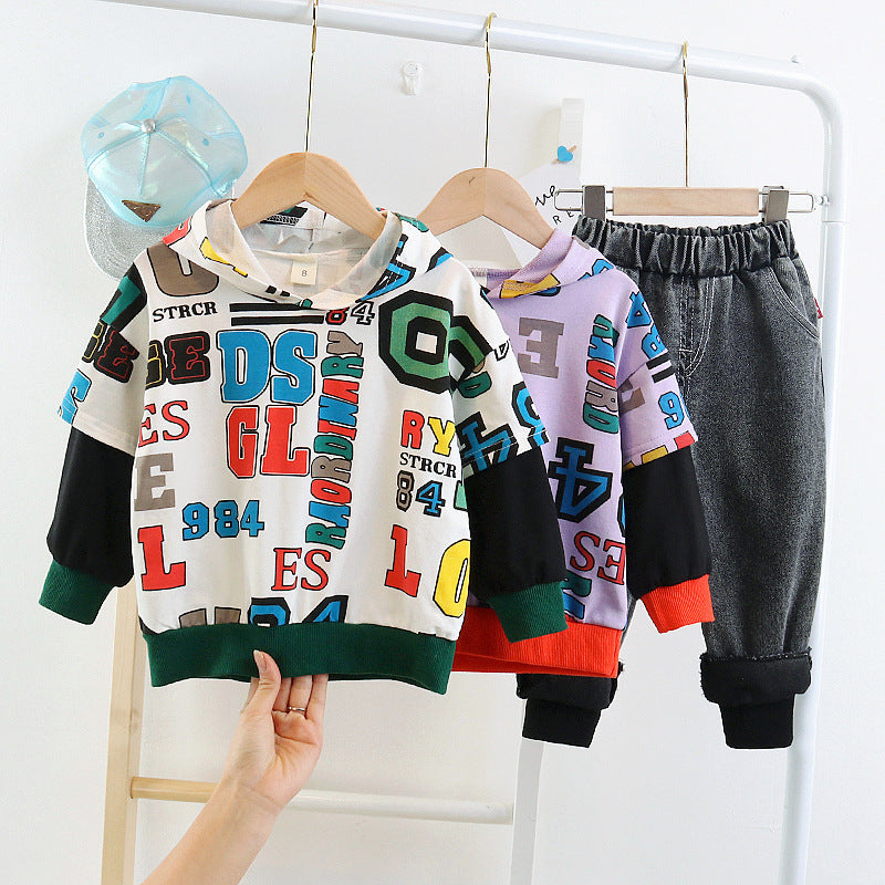 Baby Children Boy Sweater Pants set Jeans Suit Kidswear in bulk - PrettyKid