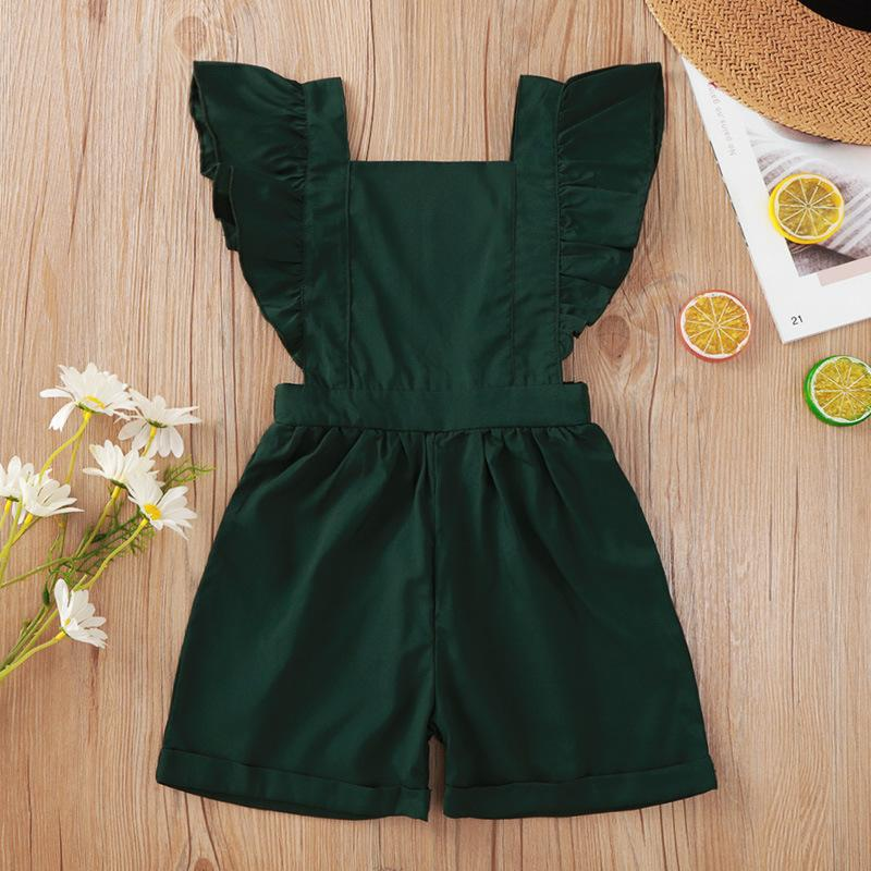 Quality Children'S Clothing Wholesale Green Suspenders Flounced Sleeve Shorts Jumpsuit