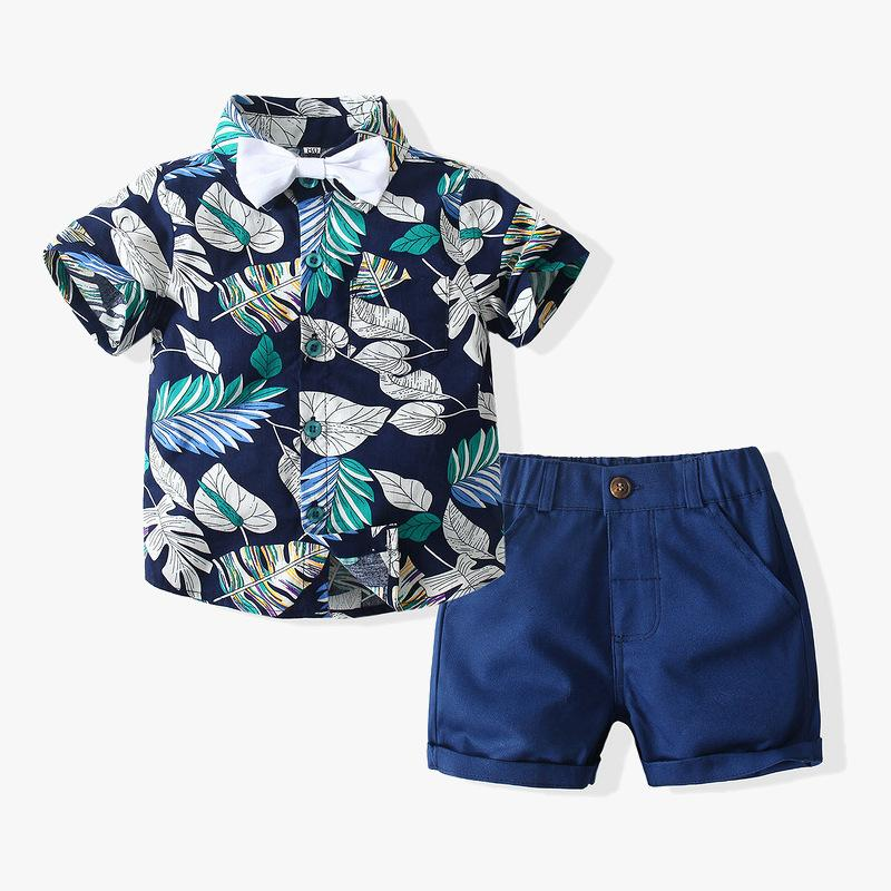Kidstales Wholesale Short Sleeve Floral Shirt Woven Shorts Suit