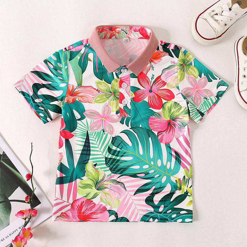 Children's Beach Style Short Sleeve Printed Shirt Online - PrettyKid