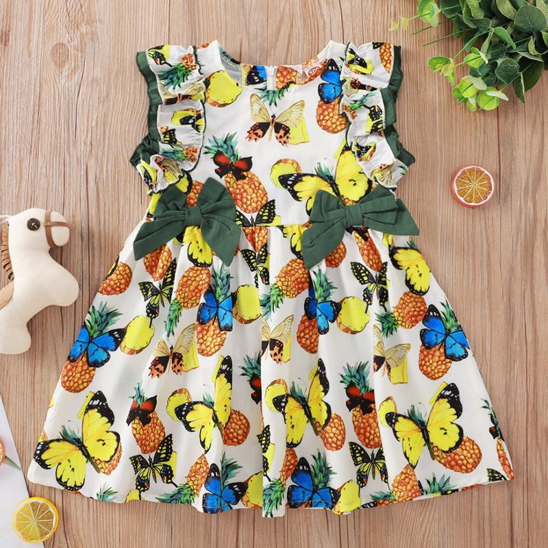 Children Clothing Vendors White Butterfly Print Flounced Sleeve Dress