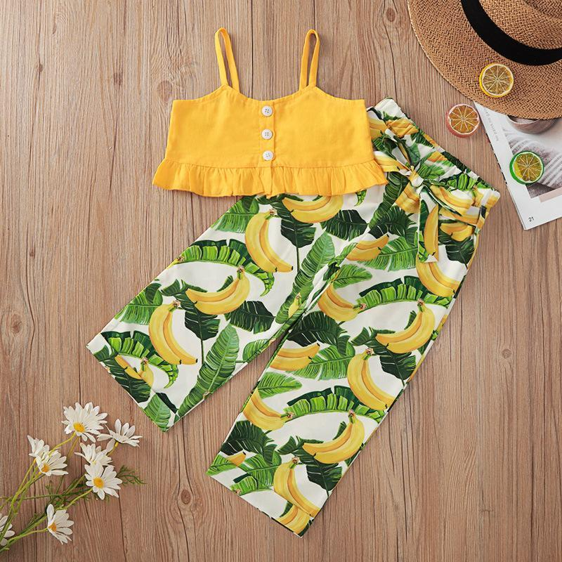Wholesale Kids Boutique Clothing Yellow Gallus Banana Stamp Trousers Suit