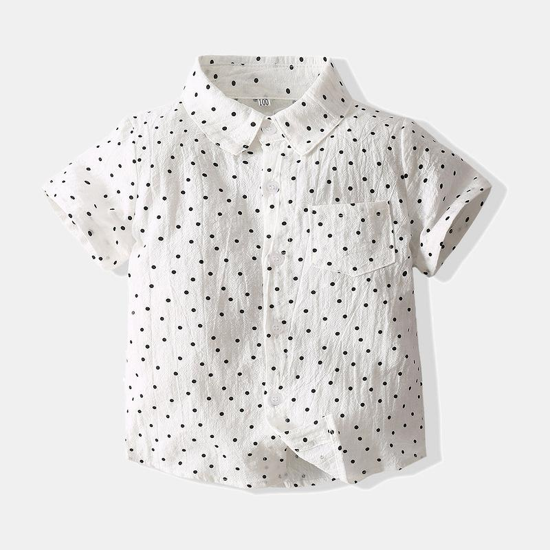 Children's Shirt Short Sleeve Fashion Dot Shirt Online - PrettyKid