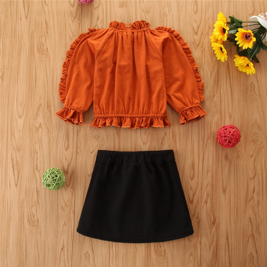 2021 Girl Korean Ins Solid Spring Dress Girl Lace Top Skirt Two-piece Set Wholesale - PrettyKid