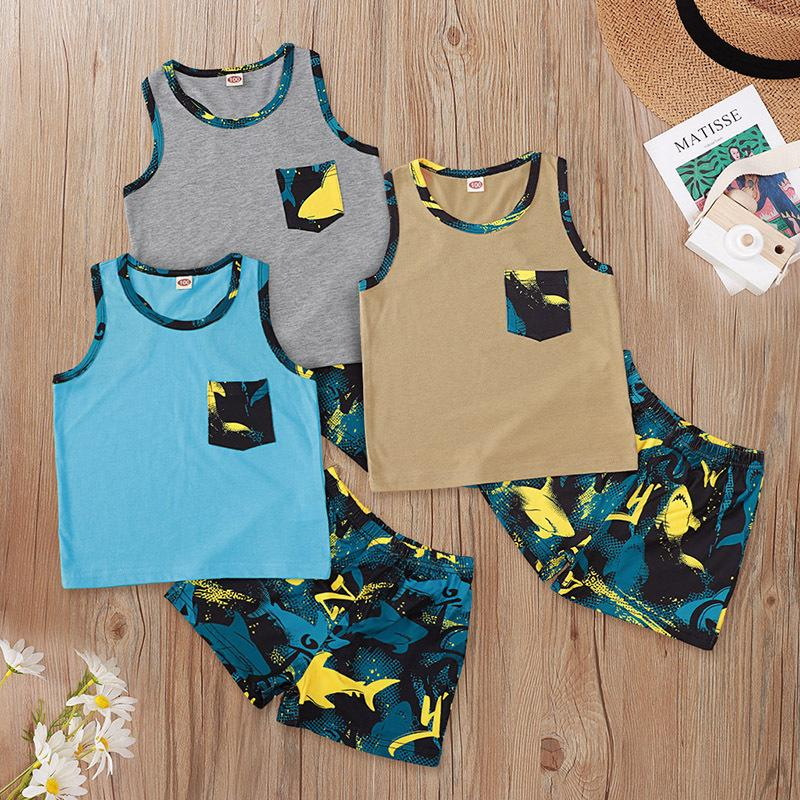 Cheap Baby Clothes Wholesale Sleeveless Top Shark Printing Suit