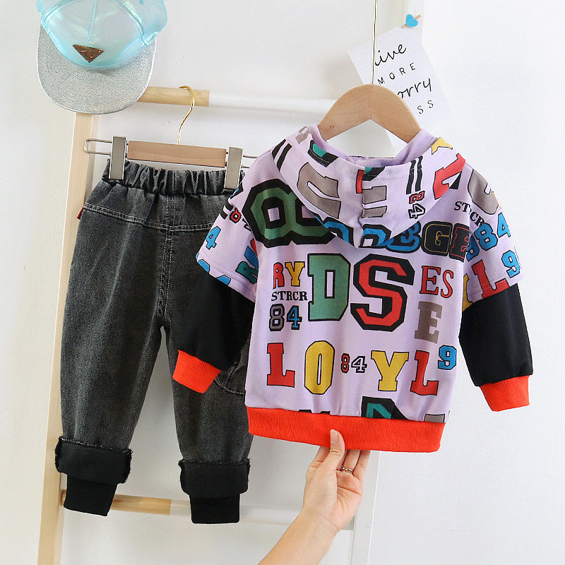Baby Children Boy Sweater Pants set Jeans Suit Kidswear in bulk