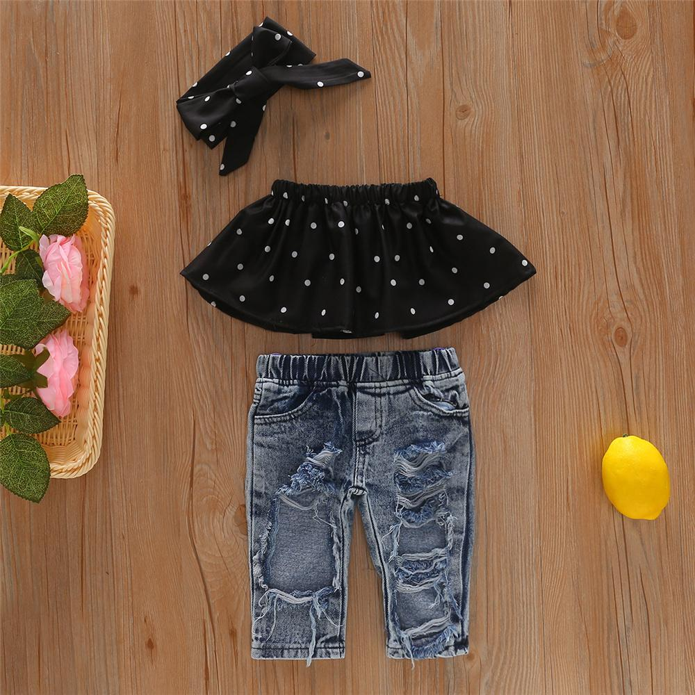 Toddler Girls Off Shoulder Polka Dot Top & Ripped Jeans & Headband Clothesblank infant shirts