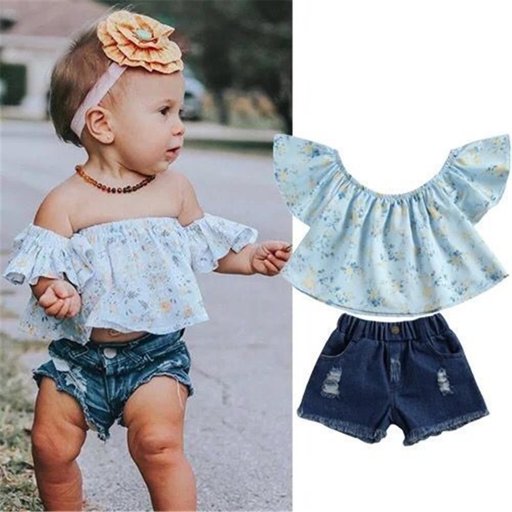 Boy Designer Clothes Wholesale Toddler Girls Off Shoulder Short Sleeve Floral Top & Denim Shorts Kids Fashion Wholesale