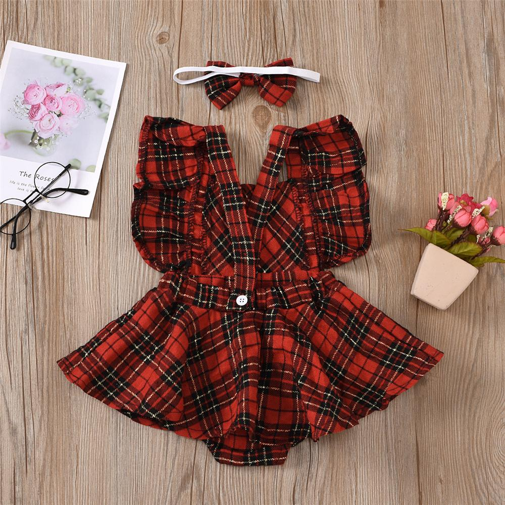 Baby Girl Onesie Plaid Sleeveless Romper & Headband Baby Clothes Cheap Wholesale - PrettyKid