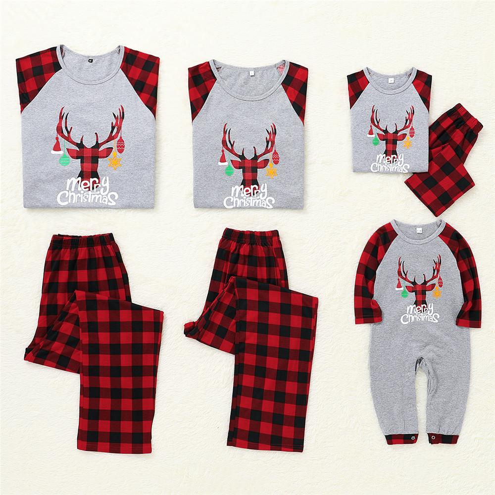 Parent-Child Christmas Elk Plaid Printed Long Sleeve Pajamas Suit Mommy And Me Clothing Wholesale