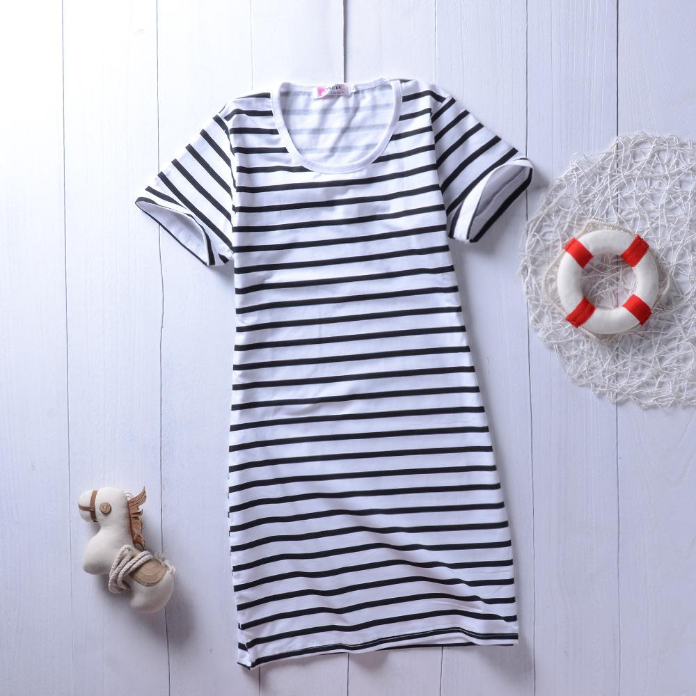 Parent-Child Striped Short Sleeve Casual Dresses mommy and me dropship kids clothing