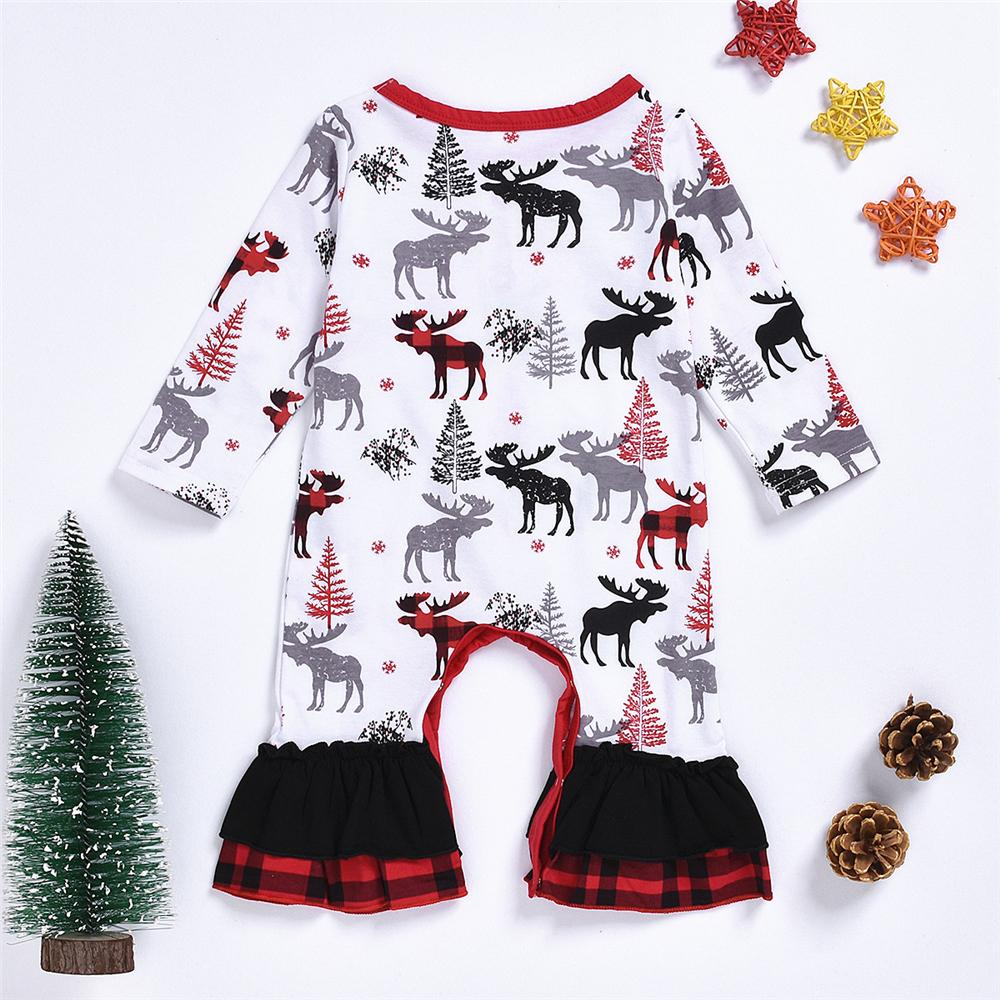 Baby Girls Pattern Elk Printed Romper Cheap Baby Clothes In Bulk