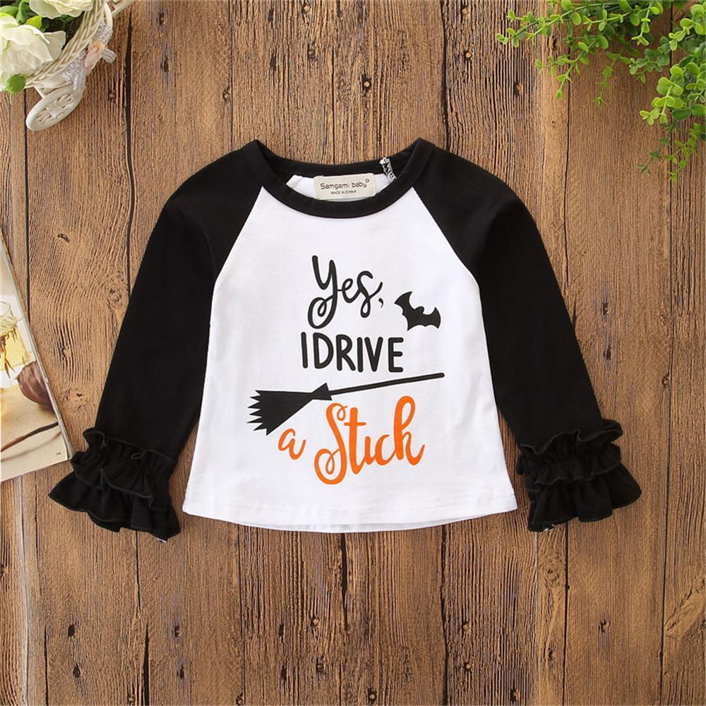 Girls Pattern Letter Halloween T-shirt Girls Clothing Wholesale - PrettyKid