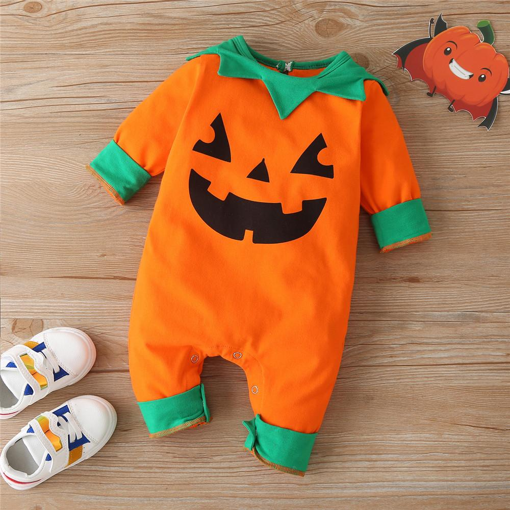 Baby Pattern Pumpkin Halloween Long Sleeve Romper Baby Wholesales - PrettyKid