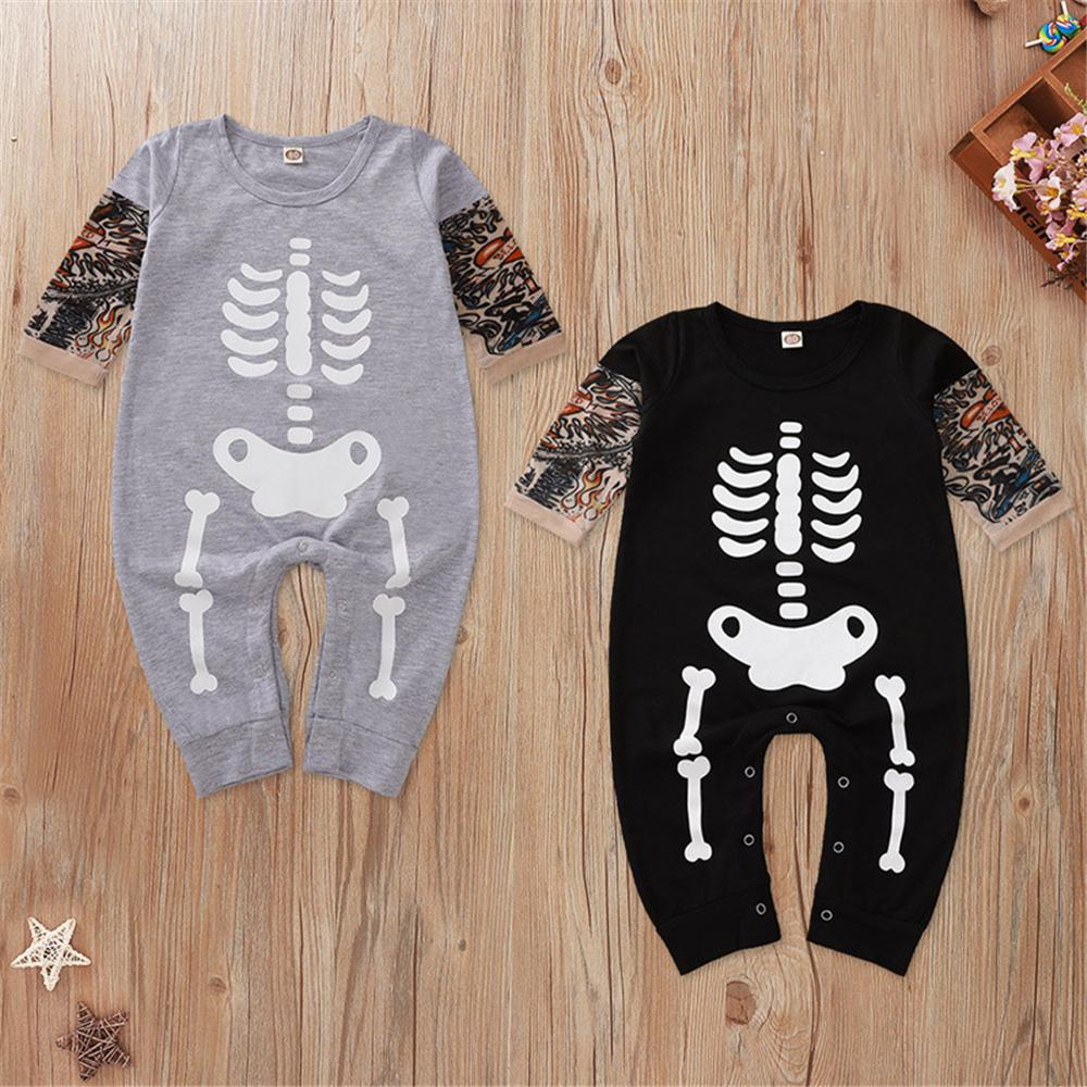 Baby Boys Pattern Skeleton Halloween Romper Baby Clothing Distributor - PrettyKid