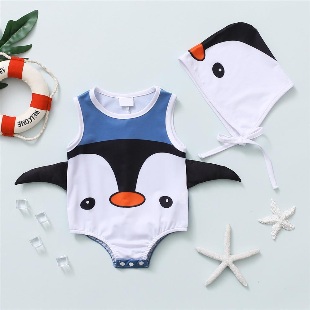 Baby Penguin Pattern Swimwear & Hat Baby children's boutique clothing suppliers