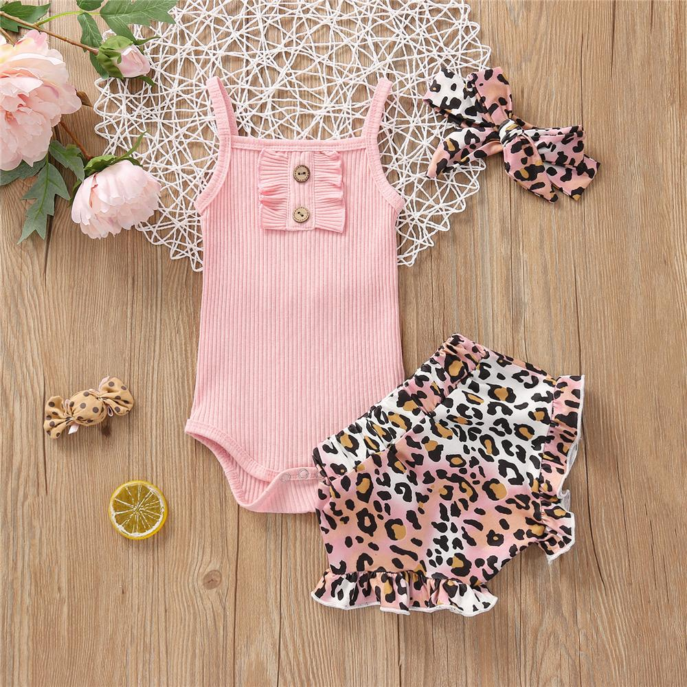 Baby Girls Pink Sling Romper & Leopard Shorts &cheap wholesale kids clothing - PrettyKid