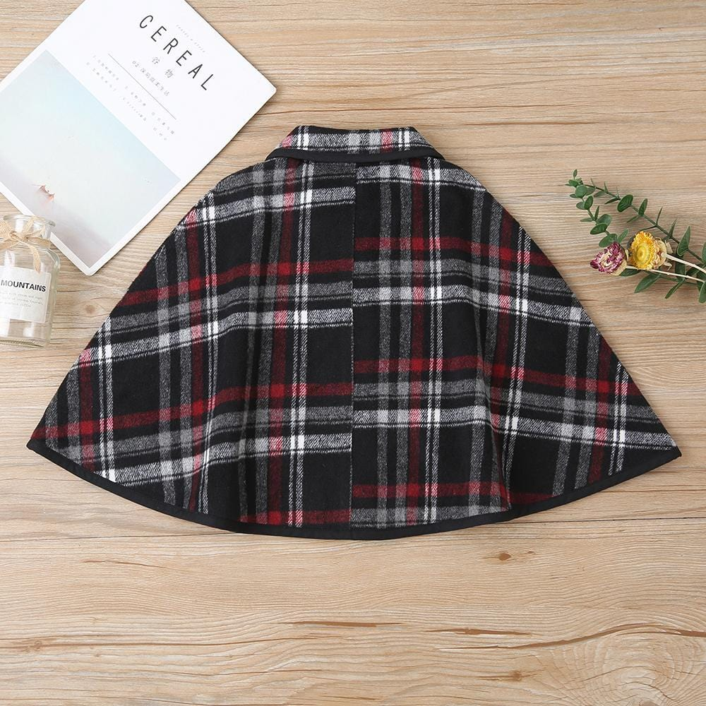 Girls Plaid Button Lapel Casual Jacket Children's Wholesale Boutique Clothing - PrettyKid