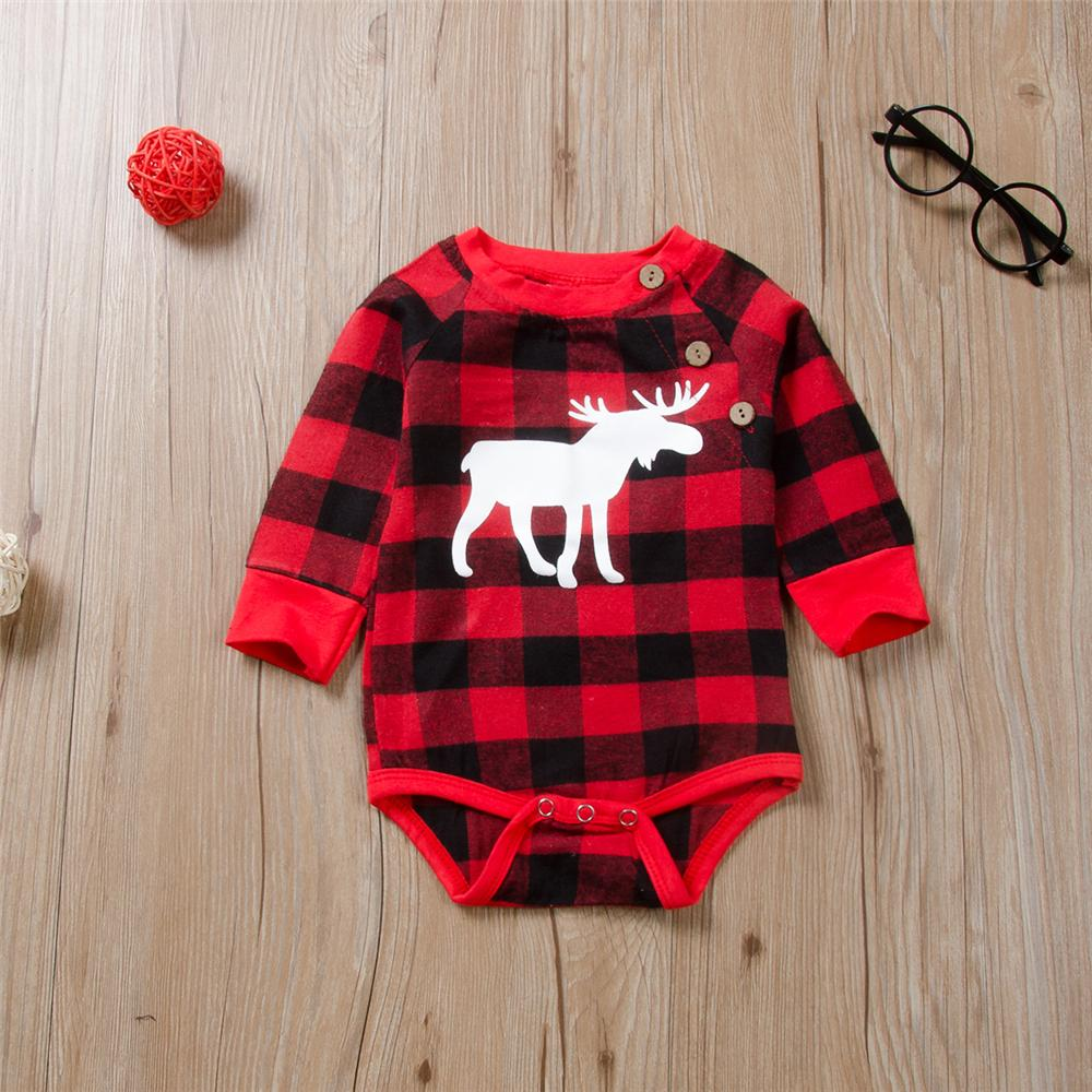 Baby Unisex Plaid Cartoon Long Sleeve Button Romper Wholesale Baby Outfits - PrettyKid