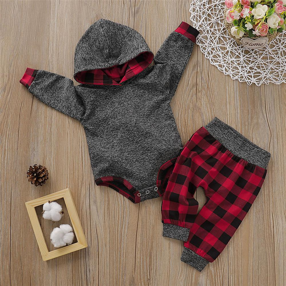 Baby Boys Plaid Hooded Romper & Trousers Baby Clothing Cheap Wholesale