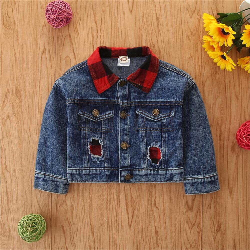 Girls Plaid Lapel Long Sleeve Ripped Denim Jacket Bulk Baby Girl Clothes - PrettyKid