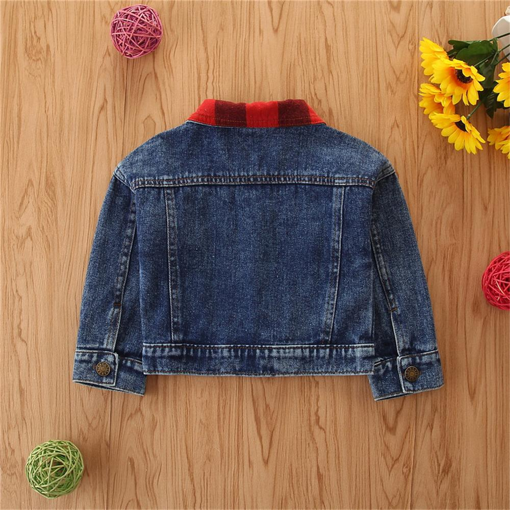 Girls Plaid Lapel Long Sleeve Ripped Denim Jacket Bulk Baby Girl Clothes