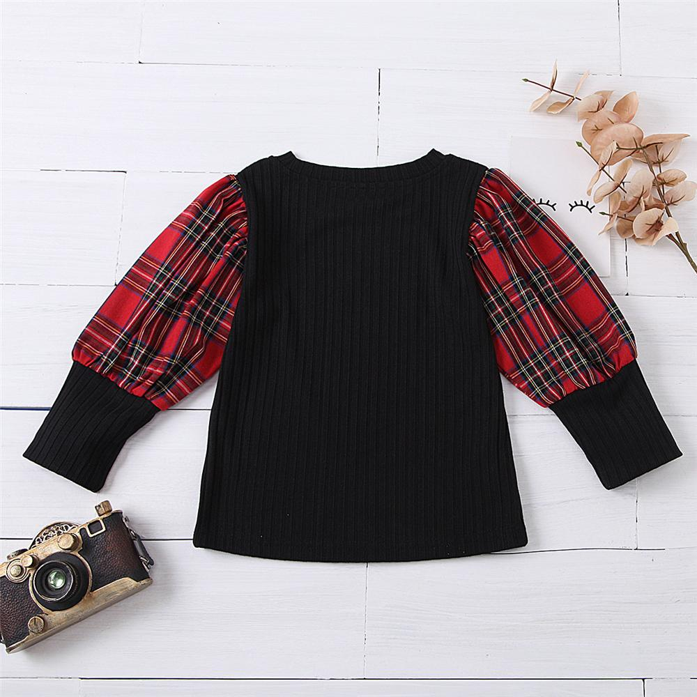 Girls Plaid Long Sleeve Crew Neck Classical T-Shirt Wholesale Childrens Clothing
