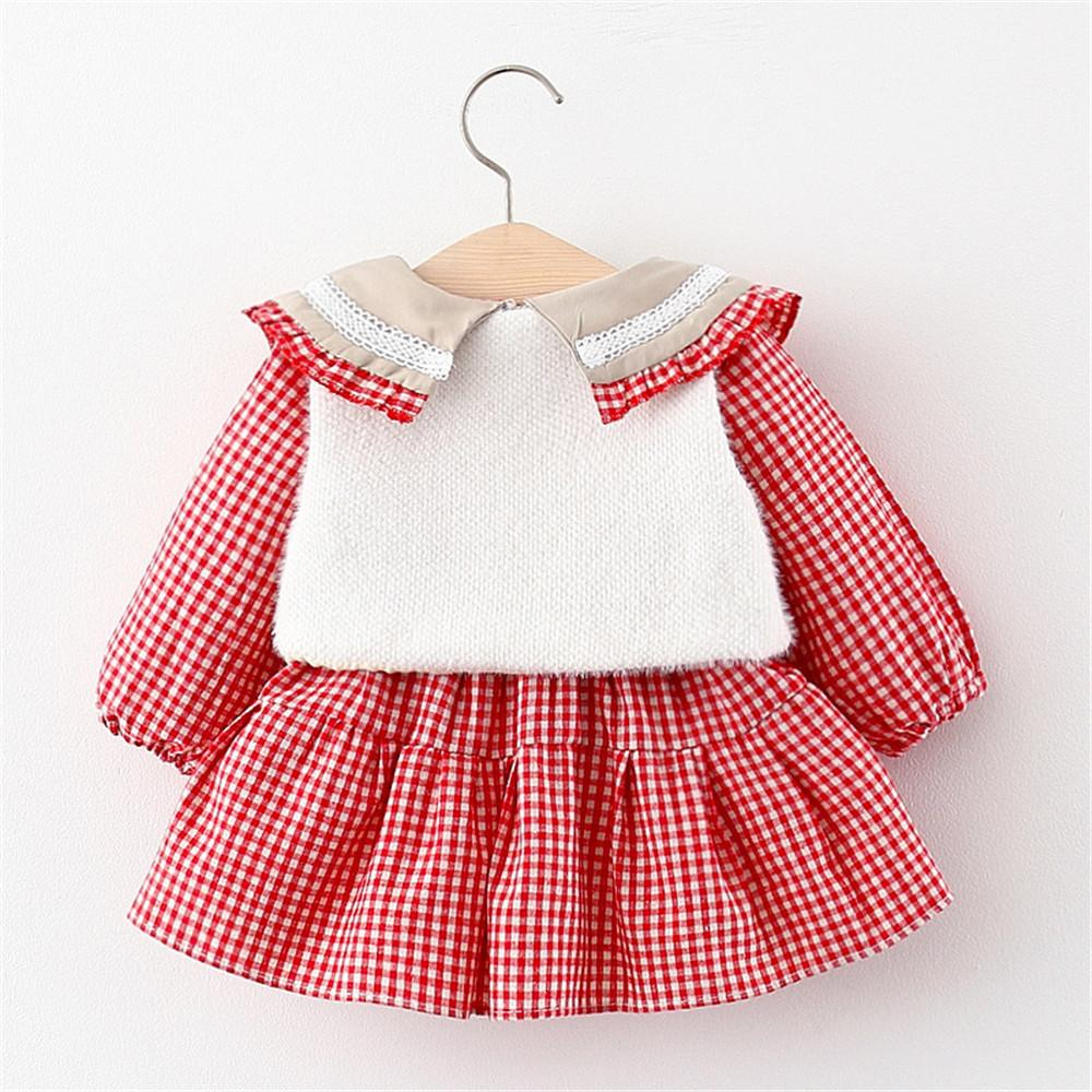 Girls Plaid Long Sleeve Dress Dress & Vest Baby Girl Clothes Wholesale