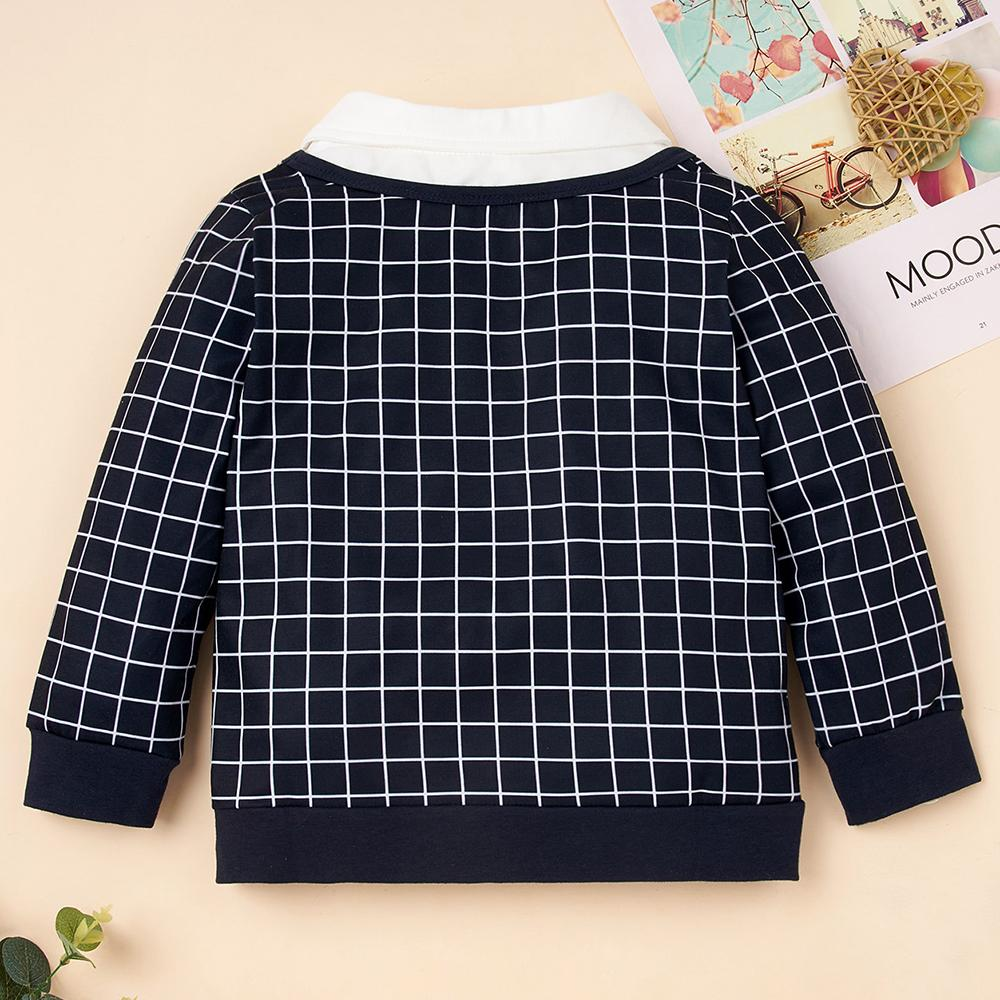 Toddler Boy Plaid Long Sleeve Letter Lapel Top Wholesale Baby Boy Clothes