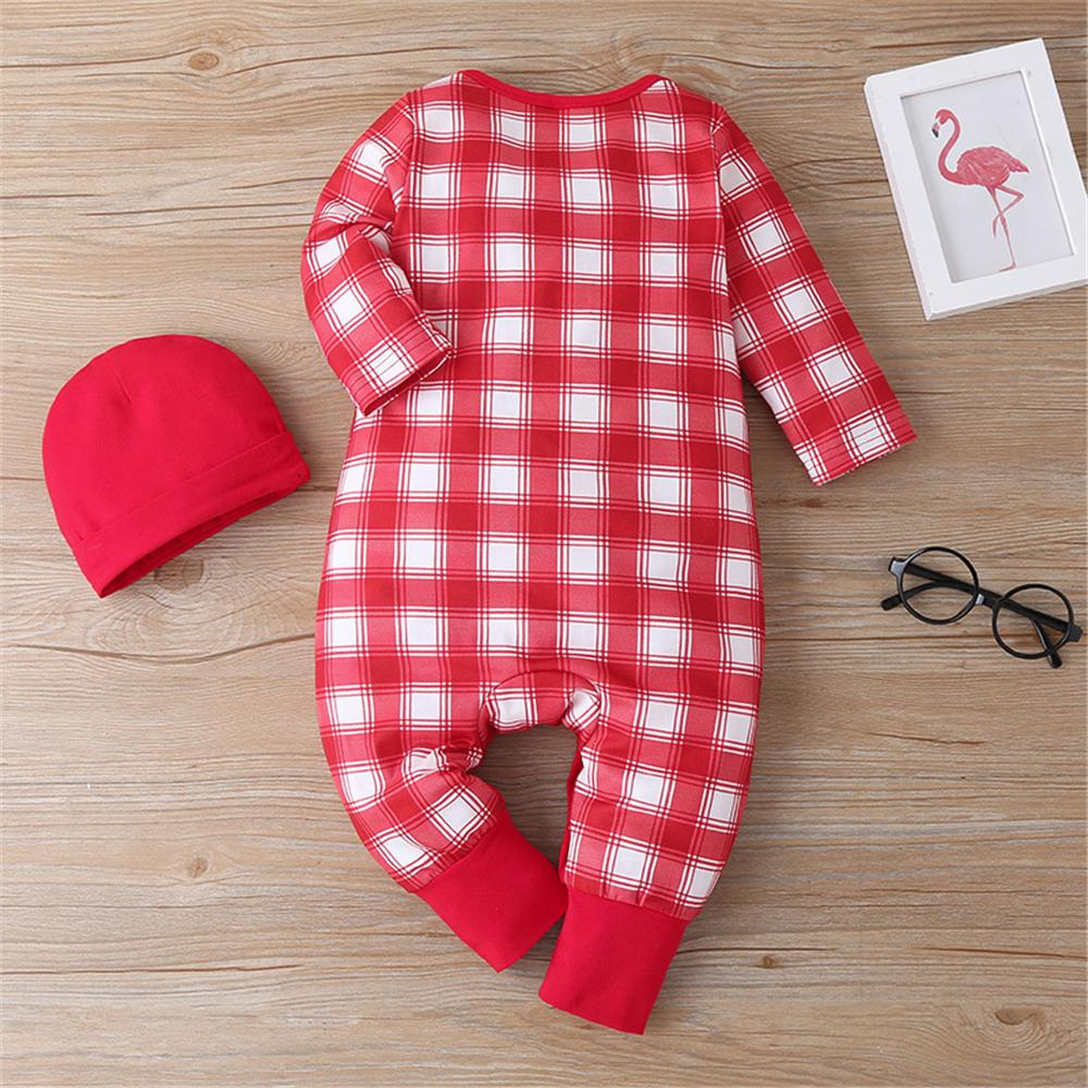 Baby Boys Plaid Long Sleeve Romper & Hat Baby Clothing Wholesale Distributors