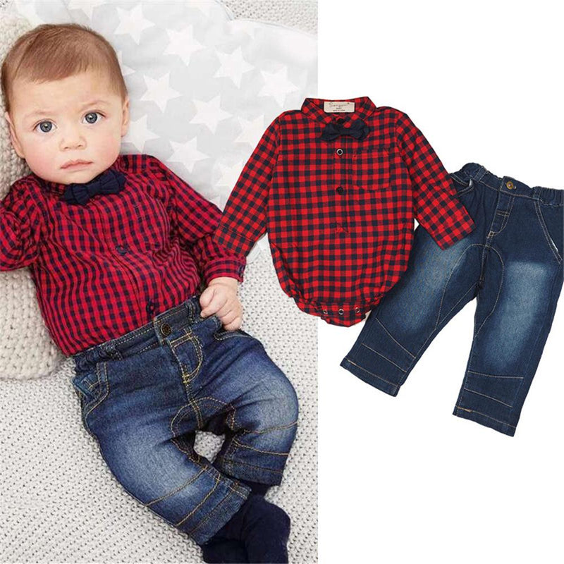Baby Boys Plaid Long Sleeve Romper & Jeans Wholesale Baby Clothes - PrettyKid