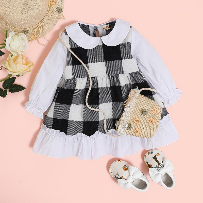 Baby Girls Plaid Long Sleeve Splicing Dress Bulk Baby Clothes For Sale