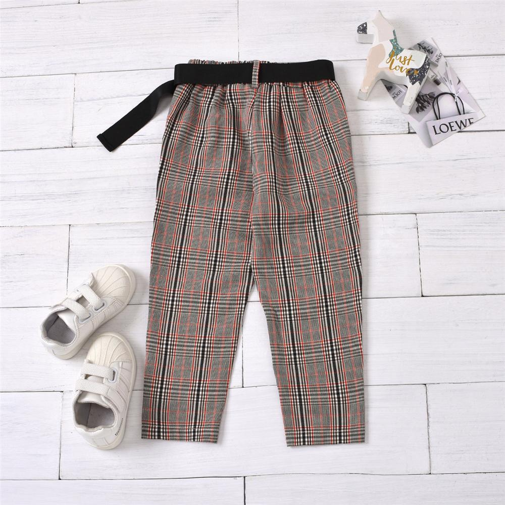 Unisex Plaid Pocket Belt Pants Cheap Childrens Clothes Wholesale