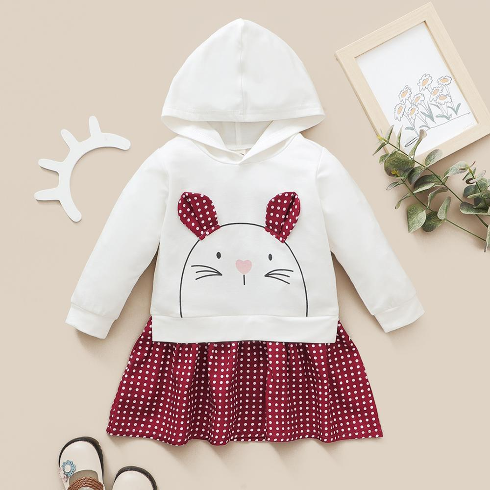 Baby Girls Plaid Rabbit Hooded Long Sleeve Dress Baby Clothes Vendors - PrettyKid