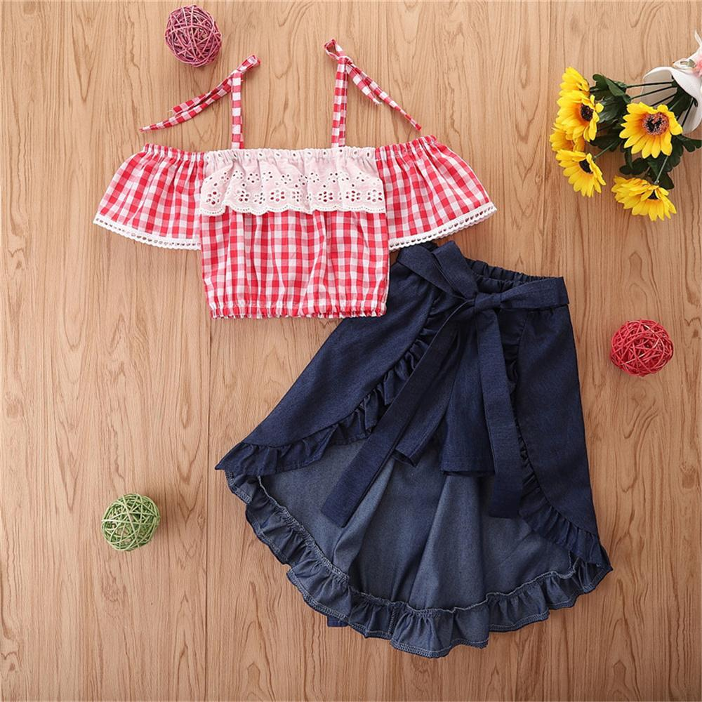 Wholesale Girl Clothing And Accessories Toddler Girls Plaid Short Sleeve Sling Top & Solid Skirt Wholesale Little Girl Boutique Clothing