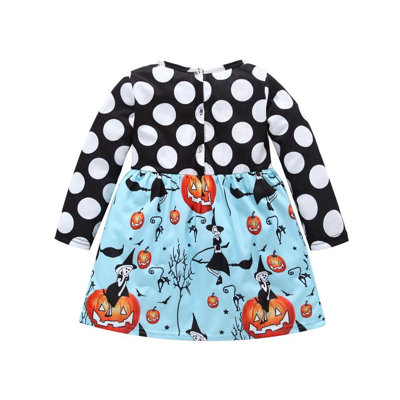 Girls Polka Dot Pumpkin Printed Pleated Dress Daddy'S Girl Clothes Wholesale