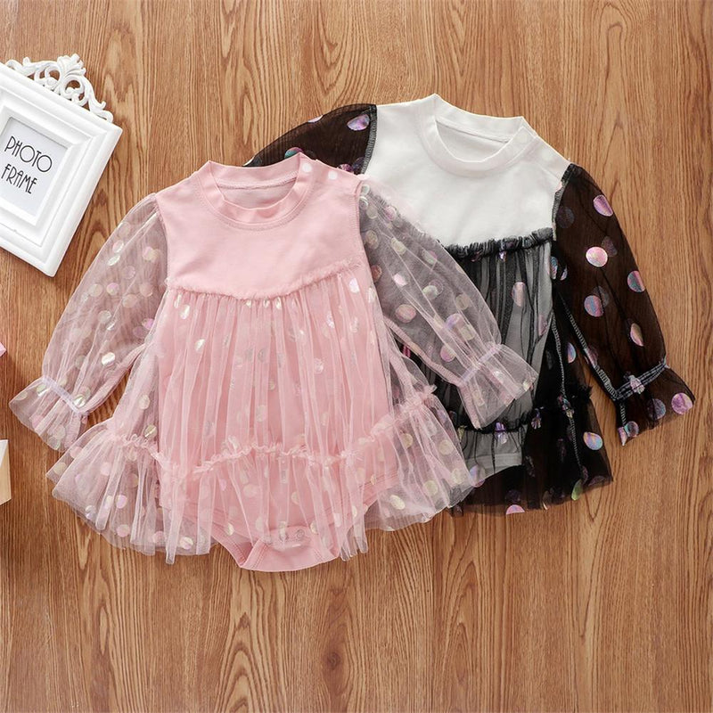Baby Girls Polka Dots Long-sleeve Solid Tulle Dress Rompers