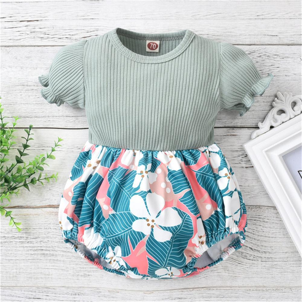 Baby Girls Puff Sleeve Floral Printed Splicing Romper newborn baby clothes wholesale - PrettyKid