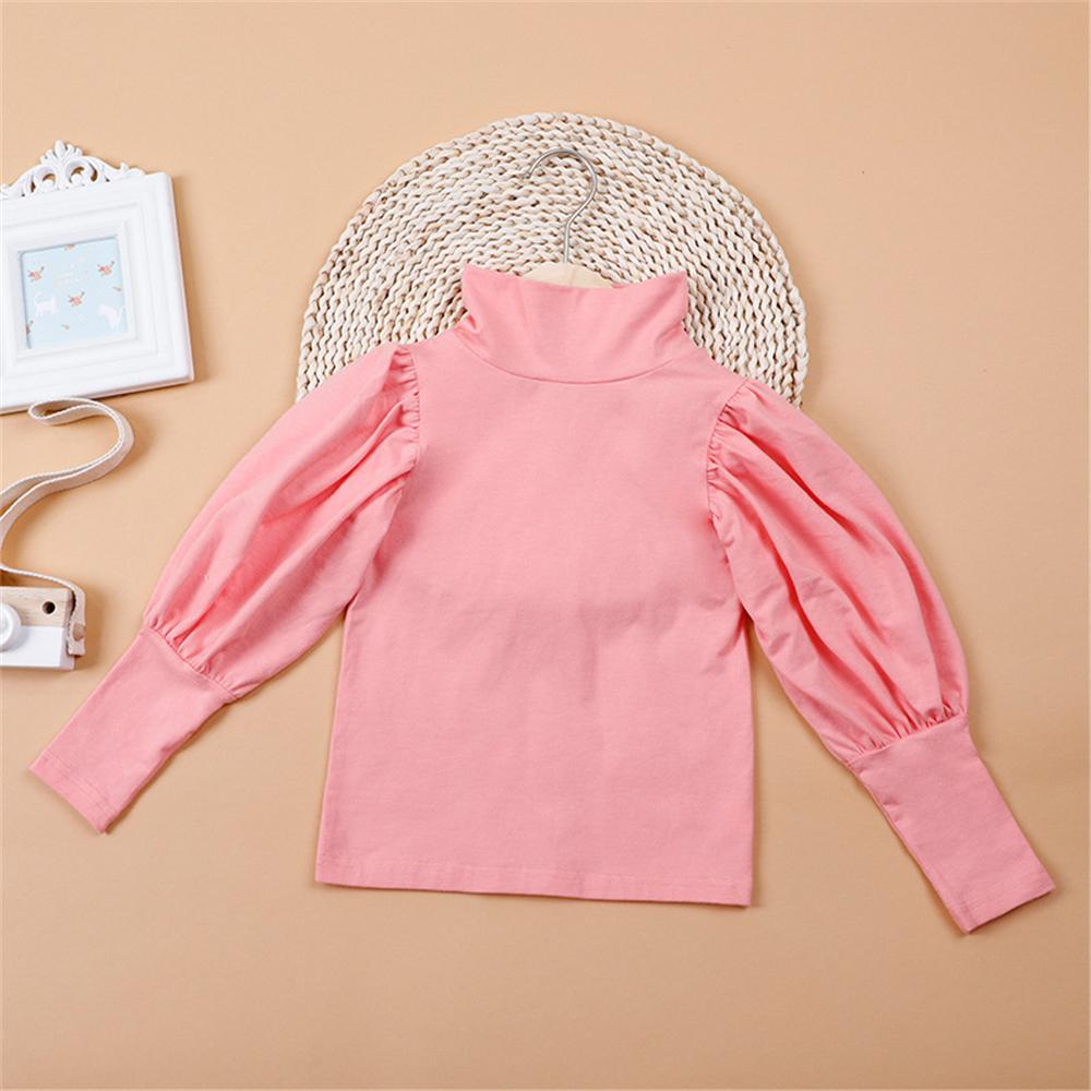 Girls Puff Sleeve Solid Color Casual Top Girl T Shirts Wholesale - PrettyKid