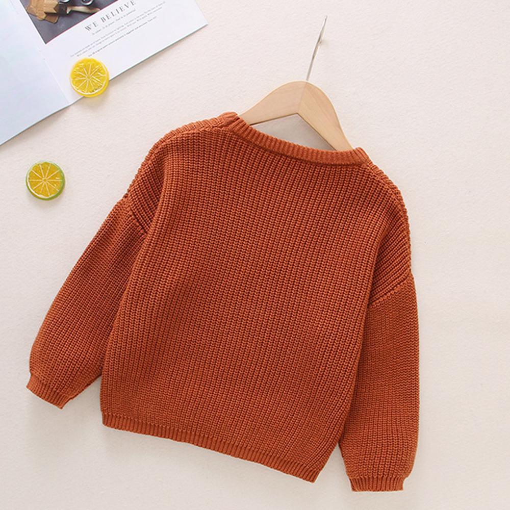 Unisex Pullover Solid Color Long Sleeve Sweater Cheap Childrens Clothes Wholesale