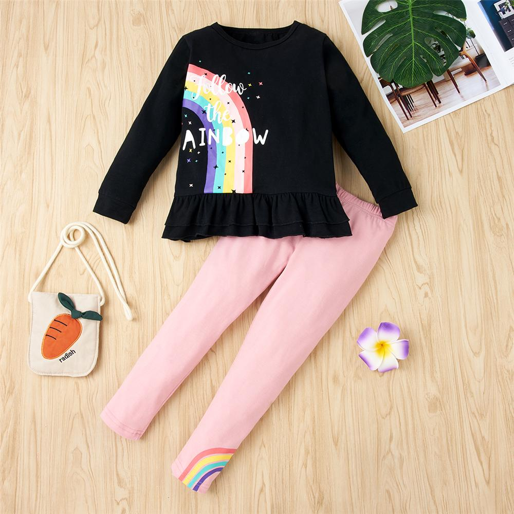 Girls Rainbow Letter Long Sleeve Suits Wholesale Trendy Childrens Clothing - PrettyKid